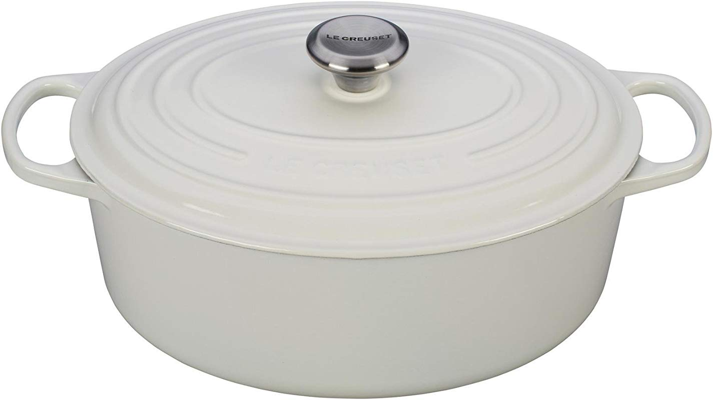 Le Creuset Signature Enameled Cast Iron 6 75 Quart Oval French Dutch Oven White
