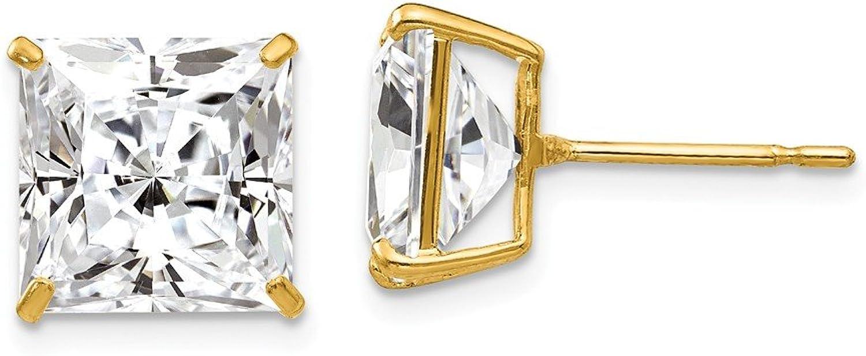 Beautiful Yellow gold 14K Yellowgold 14k 10mm Square CZ Post Earrings