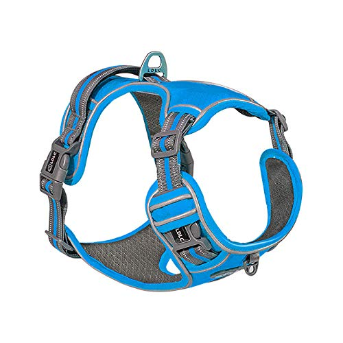 LDLC No Pull Dog Harness, Scratch-Resistant Oxford Material Outer Layer, Breathable Mesh Fabric Lining, Reflective Dog Vest Harness, Easy to Put on and take Off for Medium Large Dogs
