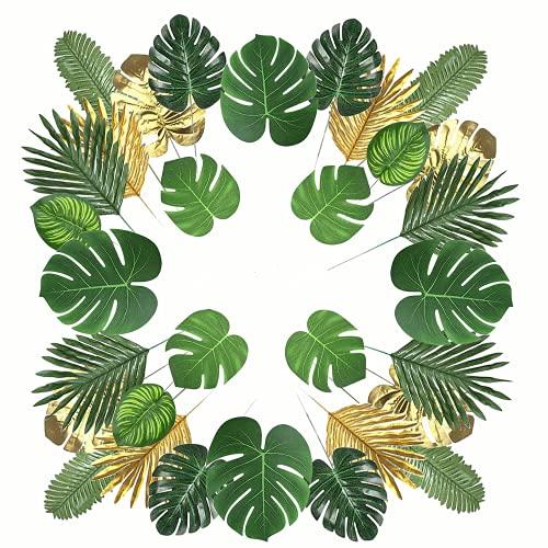 GUJIN 78 Stück 12 Arten Künstliche Palmblätter mit Stielen, Tropische Pflanze Palm Blätter und Monsterablätter, Plastikpalmenblätter für Hawaiische Luau Dschungel Strand Thema Tischdekoration