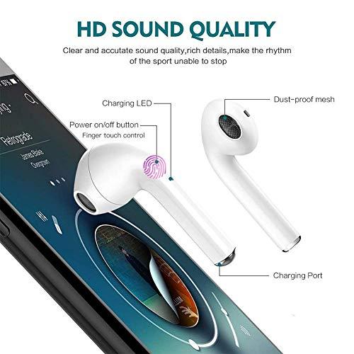 i12 Auricular Bluetooth 5.0, Auricular inalámbrico,micrófono Incorporado y Caja de Carga,reducción de Ruido estéreo 3D, Auriculares inalámbricos con control táctil Compatible con todos los smartphones miniatura
