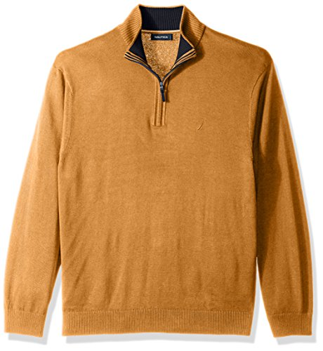 Nautica Men's Standard Long Sleeve 1/4 Zip Solid Sweater with Suede Pull Detail, Caramel Heather, Large
