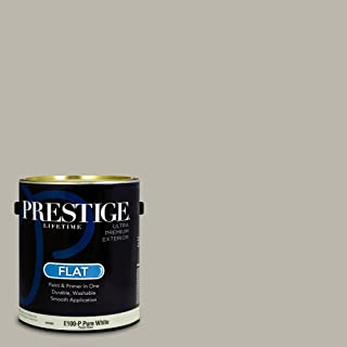 Prestige Paints Exterior Paint and Primer In One, 1-Gallon, Flat, Comparable Match of Sherwin Williams Mindful Gray