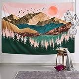 Alishomtll Wandteppich Wald Baum Berge Tapisserie Tuch Sonnenuntergang Wandtuch Wandbehang Landschaft Sonne Dekoration für Schlafzimmer 150X130cm