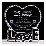 YWHL 25 Year Marriage 25th Wedding Anniversary Crystal Paperweight Keepsake Gifts