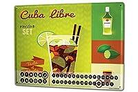 カレンダー Perpetual Calendar Nostalgic Alcohol Retro Cuba Libre Tin Metal Magnetic
