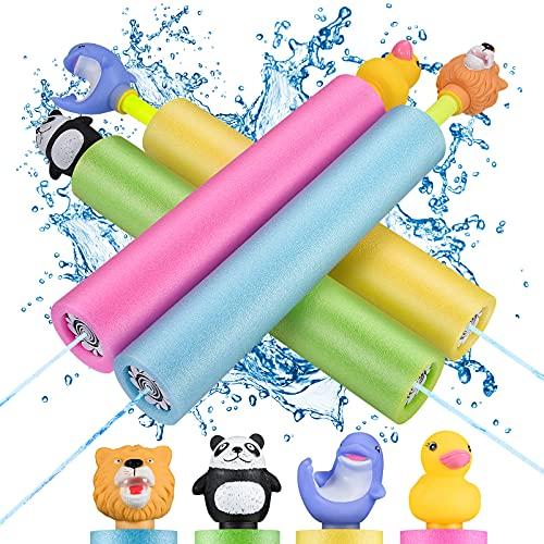 LET\'S GO! Pool Spielzeug Kinder, Wasserspritzpistolen Outdoor Spielzeug für Draußen Spielzeug ab 4 Jahren für Jungen Mädchen Geschenke 3-12 Jahre Wasserpistole Klein Schaumstoff Erwachsene