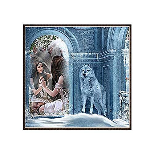 Diamant Schilderij Set DIY Leuke Wolf in De Spiegel 5D Ronde Volledige Diamant Cross Stitch Diamant Schilderij Huiskamer Decoratie 50X50cm