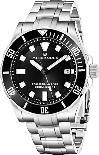 Alexander Professional Diver Watch Mens Black Face Sapphire Crystal 200M Waterproof - Swiss Made Analog Quartz Dive Watch for Men Scuba Diving Unidirectional Rotating Bezel Stainless Steel Metal Band