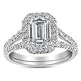 Platinum 3 Carat LAB GROWN IGI CERTIFIED DIAMOND Split Shank Emerald Cut Diamond Engagement Ring (D-E Color VS1-VS2 Clarity 2.5 Ct Center)