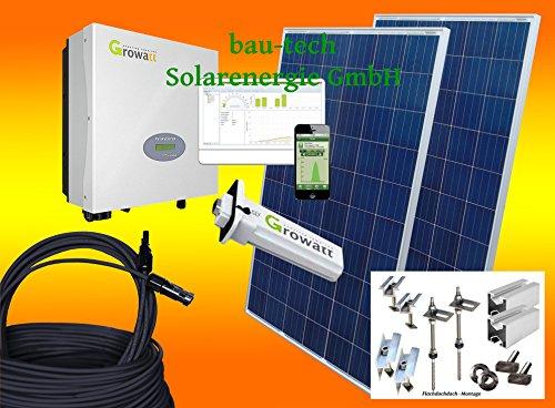 Bau-tech - Impianto fotovoltaico a energia solare, 1500 Watt, Plug & Play, set completo con materiale di montaggio per tetto piatto GmbH