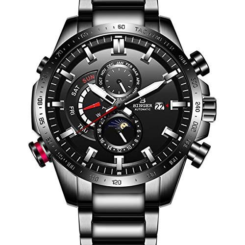 BINGER Hombres Acero Inoxidable Mecánico Automático Relojes Resistente al Agua Fecha Analógicos Impermeable Esqueleto Relojes,Negro