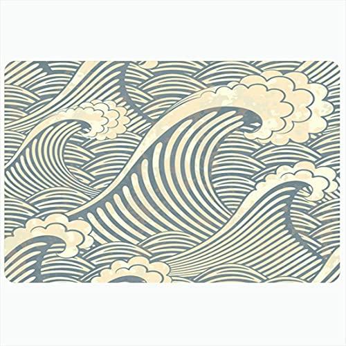 Alfombrilla de baño Patrón de grabado Breeze Hermoso Swirly Circle Wave Waves Curl Repetir texturas Fondo de surf Alfombras de baño de felpa decorativas Alfombrillas Decoración Felpudo Respaldo antide