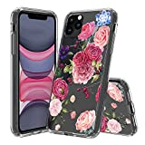 HUIYCUU Compatible with iPhone 11 Pro MAX Case 6.5', Shockproof Anti-Slip Cute Glitter Clear Design Crystal Flower Pattern Slim Fit Soft Bumper Girl Women Cover Case for iPhone 11Pro Max, Pink Rose