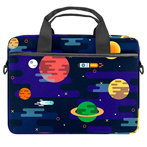 Maletín para portátil de 13,4 a 14,5 pulgadas, para negocios, bandolera, para computadora, tablet, para hombres, Galaxy Space Rocket Planetas