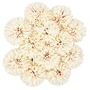 Benvo Artificial Flowers 12pcs Real Looking Hydrangea Faux Silk Plastic Chrysanthemum Ball Flowers Fake Flowers with Stems for Wedding Bouquets Centerpieces Bridal Party Home Kitchen Decoration