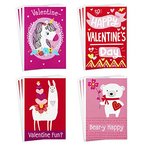 Hallmark Assorted Valentines Day Cards for Kids, 12 Cards with Envelopes (Unicorns, Bears, Llamas) (699VFE1031)