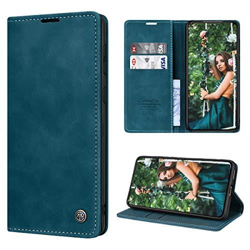 SmartLegend Funda para Samsung Galaxy S21+ Plus 5G con Tapa Funda Galaxy S21+ Plus Libro Cuero PU Premium Magnético Tarjetero y Suporte Silicona Carcasa Samsung Galaxy S21 Plus (6.7'') - Azul-Verde
