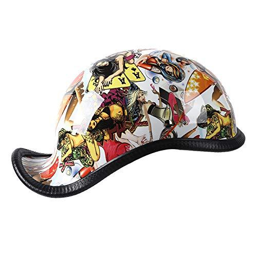 ASSteel - Casco de moto estilo retro, casco jet, casco de moto, casco de carreras, casco todoterreno, casco de verano, XL