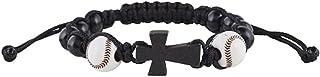 My Sports Baseball Athlete Rosary Bracelet with Wood Cross Pendant, 7 1/2 Inch