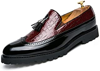 Patent Oxford Brogue Tassel Shoes For Men Real Leather Business Perfunctory Fashion Loafers Wingtip Anti-slip Flat Slip-on Round Toe casual shoes (Color : Red, Size : 45 EU)