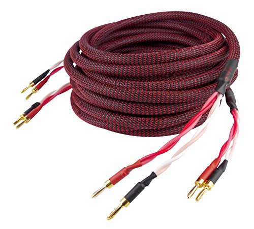 Dynavox Perfect Sound Lautsprecherkabel, Paar, Flexibles High-End Lautspecher-Kabel mit hochwertigen Bananensteckern, konfektioniert, Farbe schwarz/rot, Länge 5 m