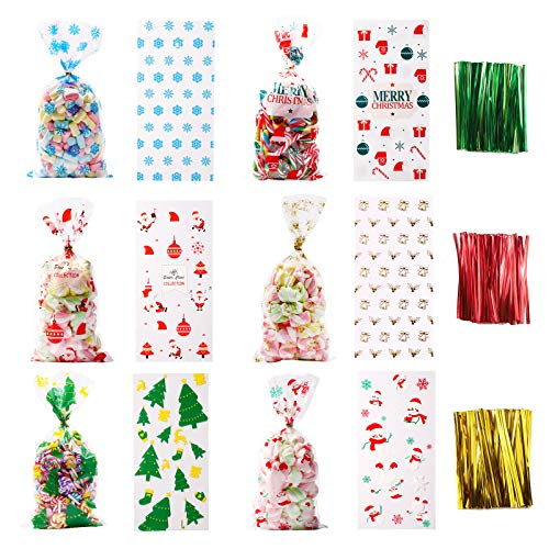 XIMISHOP 120PCS Christmas Cellophane Bags,Xmas Clear Candy Treat Cellophane Bag with150PCS Twist Ties for Christmas Party Favors