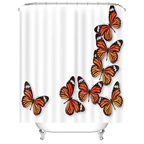KnSam Duschvorhang, Schmetterlinge Badewanne Vorhan Polyester Vorhang Aufhänger Badvorhang Fenster Duschvorhänge 71X71Inch
