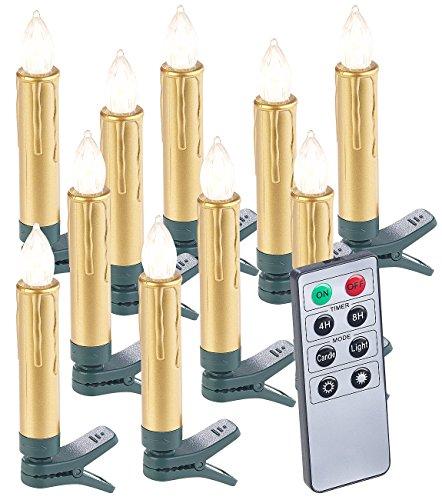 Lunartec LED Weihnachtskerzen: 10er-Set LED-Weihnachtsbaum-Kerzen mit Fernbedienung und Timer, gold (Weihnachtsbaumbeleuchtung kabellos)