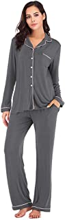 Womens Soft Bamboo Pajama Sets Button Down Long Sleeve Pj Pa