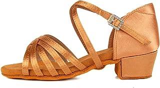 HIPPOSEUS Chaussures de Danse Latine pour Filles en Satin Chaussures de Pratique de Danse Salsa de Salon Professionnel ave...