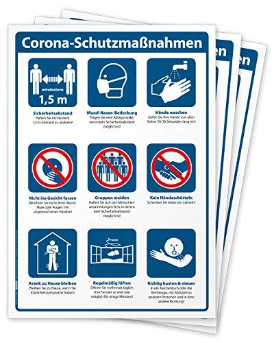 3 hochwertige Aufkleber Schutzmaßnahmen und Hygienekonzept, Hinweisschild für Handel und Behörden, Folie selbstklebend DIN A3 (297 x 420 mm) groß