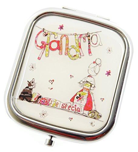 Tracey Russell Wishes Big Double miroir Compact Motif Grandma dans un coffret cadeau doublé de Satin