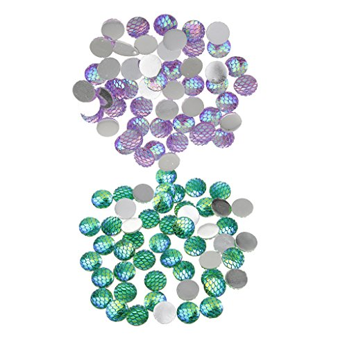 Bonarty 100 Pcs Mixed Colors Scale Resin Cabochon Round Shaped Flat Back 12 Mm
