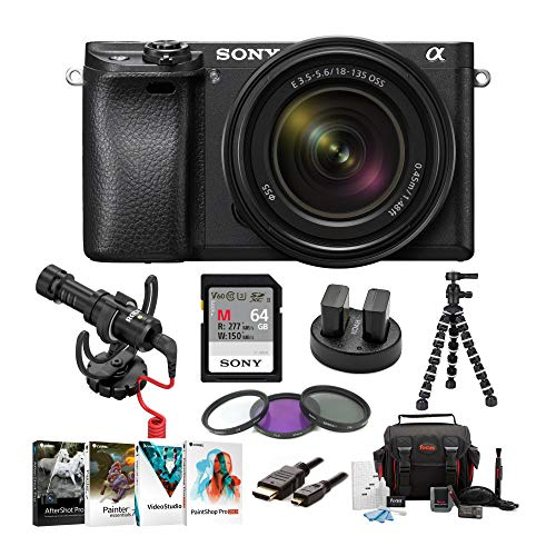 "Sony a6300 Mirrorless Camera with 18-135mm Lens with LCD, 3"", Black Rode VideoMicro Bundle"