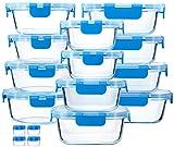 Recipientes de almacenamiento de alimentos de vidrio azul con tapas de cierre a presión actualizadas, juego de recipientes de vidrio herméticos, microondas, horno, congelador y lavaplatos
