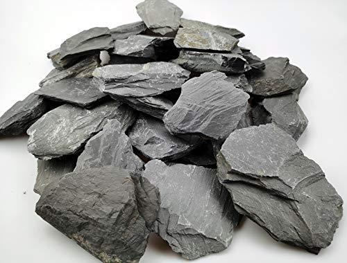 Voulosimi Natural Slate Rocks 3 to 5 inch PH Neutral Stone Perfect Rocks for Aquariums, Landscaping Model,Tank Decoration,Amphibian Enclosures (3.5 lbs)