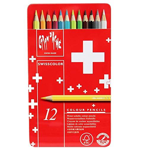 Caran D'ache Swisscolor - Matite colorate in scatola di metallo, confezione da 12