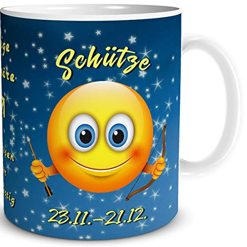 TRIOSK Tasse Smiley mit Spruch lustig Sternzeichen Schütze Geburtstagstasse Geschenk für Frauen Männer Arbeit Büro Kollegen Geburtstag