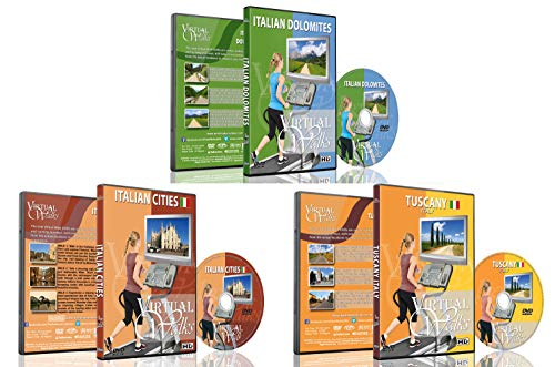 3 Disc Set Combo Pack - Best of Italy Virtual Walks DVD Box Set for Indoor Walking, Treadmill, Elliptical Trainers and Spin Bikes Workouts
