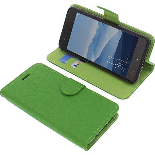 foto-kontor Tasche für Elephone P8 Mini Book Style grün Schutz Hülle Buch