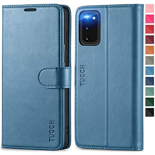 TUCCH Galaxy S20 Hülle, Schutzhülle [Weicher TPU] [RFID Schutz] [Aufstellfunktion] [Magnet],[Kartenfach] Lederhülle Klappbar, Stoßfest Flipcase, Brieftasche für Galaxy S20 (6,2 Zoll) Hellblau