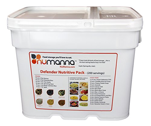 NuManna 204 Meals, Emergency Survival Food Storage Kit, Separate Rations, In A Bucket, 25+ Year Shelf Life, GMO-Free