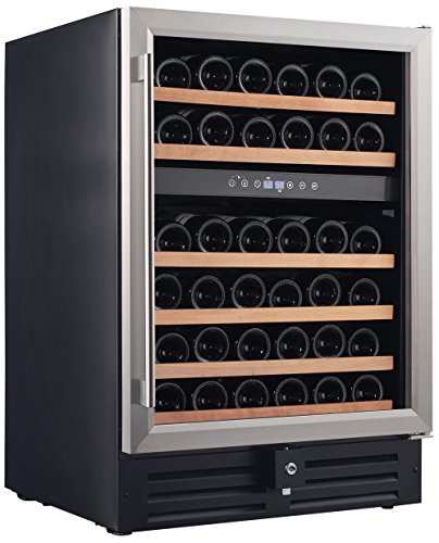 Smith & Hanks RW145DR 46 Bottle Dual Zone Under Counter Wine Refrigerator, 24...