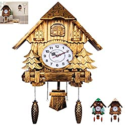 YAOBAO Large Cuckoo Clock with Quartz Movement and Hand Carved, Decorations in Black Forest Style, 20Inch(Mute),A