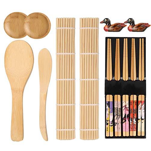 Veraing 13 Stück Sushi Set, Bambus Sushi Maker Sushi Matte für Anfänger and Sushi-Liebhaber (2 Sushi Matte, 1 Reisstreuer, 1 Paddy Paddel, 2 Sushi-Teller,5 Stäbchen, 2 Essstäbchenhalter)