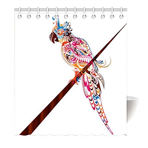 Violetpos Duschvorhang Vögel Papagei Mehrfarbig Hochwertige Qualität Badezimmer 160 x 180 cm