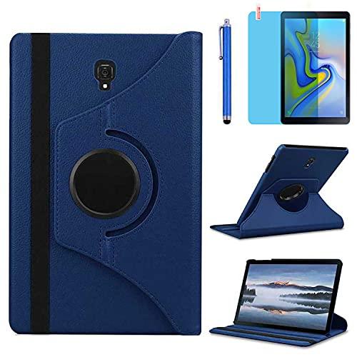 Fundas para Samsung Galaxy Tab S4 10.5 Inch 2018 Casos Modelo SM-T830 SM-T835 SM-T837,360 Rotación Soporte Protección Cubrir,Tener bolígrafo,Película (Deep Blue)