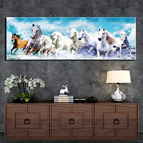 DIY 5D Diamond Painting Kit for Adults kids, Grupo de caballos 20x60in Full Drill Crystal Rhinestone Embroidery Cross Stitch Arts Craft Room Decoration Home Office Gift