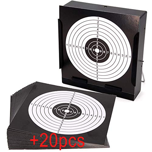 Sealive Metal Airsoft Targets for Shooting with Trap, Mini BB Gun Target for Shooting Practice and Air Soft Gun Training, Outdoor Indoor Pellet Trap with 20 Pcs Paper Targets